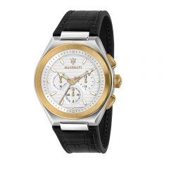 Maserati Triconic Black Leather Strap Chronograph Men's Watches R8871639004 R8871639004