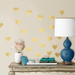 ROOMMATES - GOLD HEARTS WALL DECALS RMK3074SCS