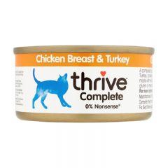 Thrive - 整全膳食雞肉+火雞 貓罐頭75g (原箱12罐) Thr-ChiTur75g-box