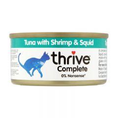 Thrive - 整全膳食吞拿魚+海蝦+墨魚 貓罐頭75g (原箱12罐) Thr-TunShrSq75g-box