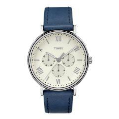 Timex 多功能 41毫米皮帶手錶-藍色/白色 TW2R29200