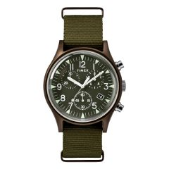 Timex MK1 Aluminum Chronograph 40mm Fabric Watch - Olive TW2R67800