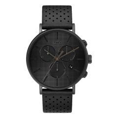 Timex Fairfield Chronograph Supernova™ 41mm Leather Strap Watch_Black/Black TW2R79800