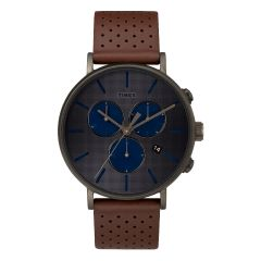 Timex Fairfield Chronograph Supernova™ 41mm Leather Strap Watch_Black/Brown/Gray TW2R80000