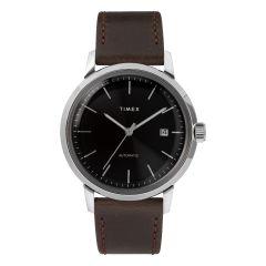 Timex MARLIN®自動40毫米皮革錶帶手錶-黑色/銀色 TW2T23000