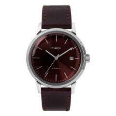 Timex MARLIN®自動40毫米皮革錶帶手錶-酒紅色/銀色 TW2T23200