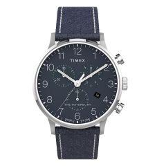 Timex Waterbury 經典計時碼 40毫米皮帶手錶 - 不銹鋼/藍色 TW2T71300
