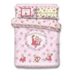 Uji Bedding - 1000 thread Cotton Reactive Print  Characters Bedding Set - Marron Cream(4 Sizes option) UJI-MA2001-MO
