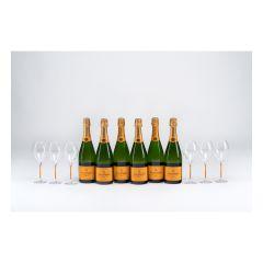 Veuve Clicquot - Brut Yellow LabelChampagne 75cl Party Set (6 btls + 6 Glasses) VCP_PS_6G