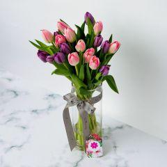 Gift Flowers HK - 色彩鬱金香連花瓶 VS330531