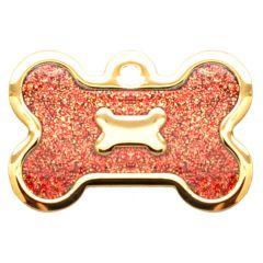 Therese Pet Accessories 金色大狗骨牌大红滴膠閃粉 VTSD-011-208