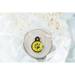 Therese Pet Accessories 金色小圓腳印牌青黄滴膠閃粉 VTSD-013-226