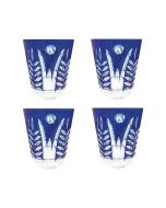 Faux - Handmade Cut Glass Cobalt Coloured Tumblers Set Of 4 - Fern Cobalt GLS-FN-COBT4