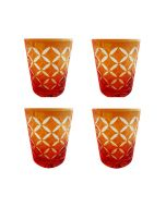 Faux - Handmade Cut Glass Citrus Orange Coloured Tumblers Set Of 4 - Monogram