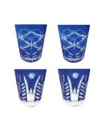 Faux - Handmade Cut Glass Cobalt Blue Colored Tumblers Set Of 4 - 2 x Star Rising + 2 x Fern GLS-SR-FN-4