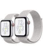 APPLE WATCH SERIES 4 GPS + CELLULAR SILVER ALUMINUM CASE WITH SUMMIT WHITE NIKE SPORT LOOP