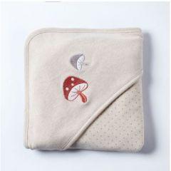 0/3 Baby - Natural Coloured Cotton Hooded Blanket - Mushroom Hooded Blanket G08-03028-SA-02
