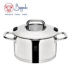 Buffalo - WISE COOK 20CM Stainless Steel ca CASSEROLE WITH STAINLESS STEEL LID & GLASS ON TOP(33920SS) 33920SS