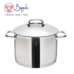 Buffalo - WISE COOK STAINLESS STEEL 24CM STOCKPOT WITH STAINLESS STEEL LID & GLASS ON TOP (33924H) 33924H