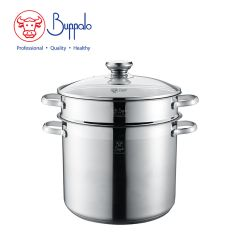 Buffalo - DOUBLE ASTUTE 24CM Stainless Steel High Stockpot with Pasta Insert and Glass Lid (383324H) 383324H