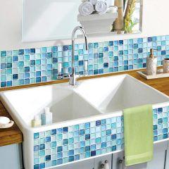 BEAUS - 3D 浴室及廚房多功能牆紙貼 (藍馬賽克瓷磚) 8804219000248