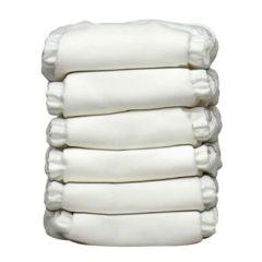 Charlie Banana® 6條裝12條片芯多功能均碼尿布 - All White