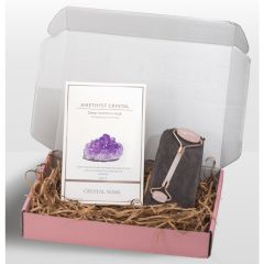 CRSYTAL MASK - AMETHYST CRYSTAL DEEP HYDRATION MASK + Natural Rose Quartz Facial Roller ACM1901-5-B_RQFR