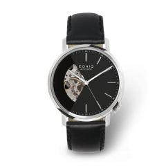 EONIQ ALSTER Classic-S 個人化腕錶 - 簡約純銀色外殼 x 鋼琴黑鏤空錶面 [錶背刻字] ALSTER-CL-S-BK