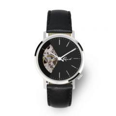 EONIQ ALSTER-S 個人化腕錶 - 簡約純銀色外殼 x 鋼琴黑鏤空錶面 [錶面加字] ALSTER-S-sku1-BK