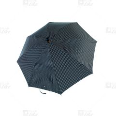 梁蘇記 - 拐杖自動長雨傘 - 黑白波點
