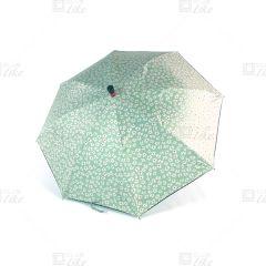 梁蘇記 - 拐杖自動長雨傘 - 綠碎花黑底