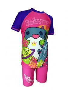 Aquasport 雙髻鯊短袖防晒套裝 - 紫色/粉紅色