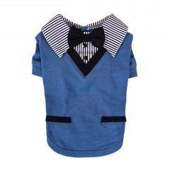 Blue Port -【Keep Cool 25°C】恆溫防蚊狗狗衣服 - 藍色,領結紳士Polo恤 (XXL碼) DDC0004XXLM100