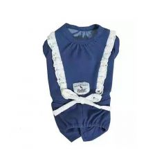 RADICA【Keep Cool 25°C】恆溫防蚊狗狗衣服 - 藍色 白花邊衫 (3 Size)