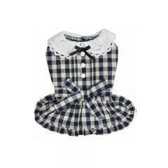 RADICA【Keep Cool 25°C】恆溫防蚊狗狗衣服 - 藏青色 圓領格仔裙 (2 Size)