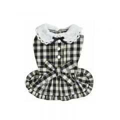 RADICA【Keep Cool 25°C】Anti-mosquito Dog Clothes- Black Round Neck Plaid Dress (2 Size) DDC721B-all