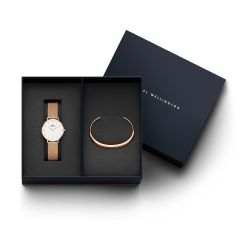 DW Gift Set (Classic Petite Melrose Watch RG White 32mm + Classic Bracelet RG Small