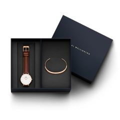 DW Gift Set (Classic Petite St Mawes Watch RG White 32mm + Classic Bracelet RG Small)