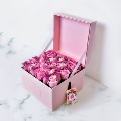 Gift Flowers HK - Pink and Purple Roses in Square Flower Box FB130094