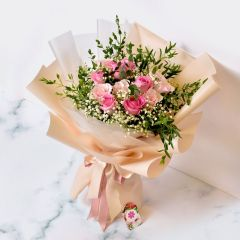 Gift Flowers HK - Pink Roses & Baby Breath Bouquet FB160030