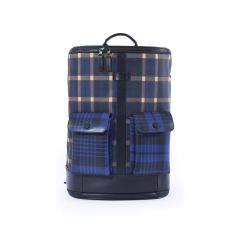 Frequent Flyer Captain Zip Around Backpack (M) - Scottish Tartan And Bengal Stripe Blue