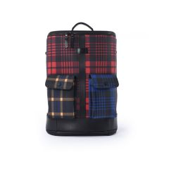Frequent Flyer Captain Zip Around Backpack (M) - Scottish Tartan And Bengal Stripe Multi