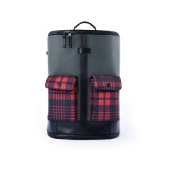 Frequent Flyer Captain - Zip Around Backpack (M) - Army Green/Scottish Tartan Red