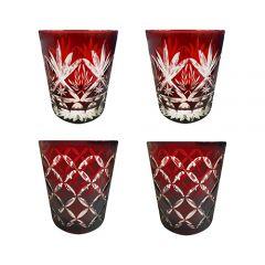 Faux - Handmade Cut Glass Garnet Colored Tumblers Set Of 4 - 2 x Barley + 2 x Monogram GLS-BLY-MNG-4