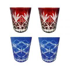 Faux - Handmade Cut Glass Tumblers Set Of 4 - 2 x Barley + 2 x Star Rising GLS-BLY-SR-4