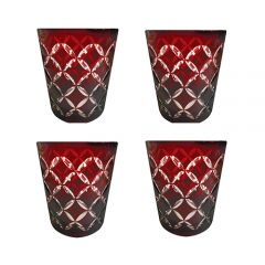 Faux - Handmade Cut Glass Garnet Coloured Tumblers Set Of 4 - Monogram Garnet GLS-MNG-GNT4