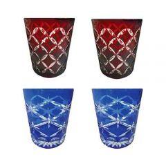 Faux - Handmade Cut Glass Tumblers Set Of 4 - 2 x Garnet Monogram + 2 x Cobalt Star Rising GLS-MNG-SR-4