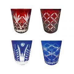 Faux - Handmade Cut Glass Tumblers Set Of 4 - Monogram/Barley/Star Rising/Fern GLS-RFMB-4