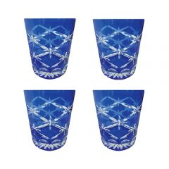 Faux - Handmade Cut Glass Cobalt Coloured Tumblers Set Of 4 - Star Rising Cobalt GLS-SR-COBT4