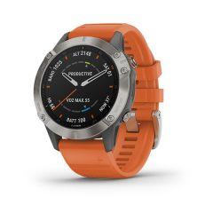 Garmin - Fenix 6 藍寶石頂級多功能運動 GPS智能手錶 (繁中/簡中/英文) (鈦錶圈配亮眼橘矽膠錶帶) GM_FENIX6C_OR